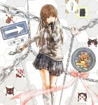 1girl amagami brown_hair cat chain chains cuffs grey_eyes hairband hand_on_own_face handcuffs heart honeycomb_background kamizaki_risa l-grey long_hair mouth_hold open_collar ribbon school_uniform skirt smile solo standing street_sign stuffed_animal stuffed_toy teddy_bear