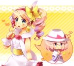 1girl blue_eyes blush bow dress drill_hair dual_persona hair_bow hairband hat headset heart long_hair mole pink_hair poke_ball_theme pokemon pokemon_(game) pokemon_bw2 ruri_(pokemon) shooting-star short_hair smile thought_bubble