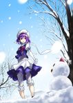 1girl hat kyon_(fuuran) letty_whiterock purple_eyes purple_hair scarf short_hair snow snowing snowman solo touhou tree violet_eyes