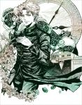 2boys clock flower gakuran hierophant_green jojo_no_kimyou_na_bouken kakyouin_noriaki multiple_boys muted_color pink_hair scar school_uniform uraseesan
