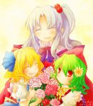 3girls alice_margatroid alice_margatroid_(young) ascot blonde_hair blue_eyes blush bow capelet closed_eyes colored_eyelashes dress eyes_closed flower green_hair hair_bobbles hair_bow hair_flower hair_ornament hairband kazami_yuuka long_hair multiple_girls open_mouth plaid red_eyes shinki shirt short_hair side_ponytail silver_hair skirt smile suspenders touhou young