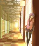 1girl bakemonogatari checkered checkered_floor door female hallway highres leaning monogatari_(series) perspective regura school_uniform senjougahara_hitagi solo