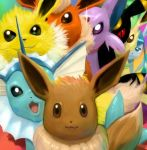 cosmo_(465lilia) eevee espeon everyone flareon glaceon jolteon leafeon pokemon pokemon_(creature) revision umbreon vaporeon