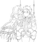1boy 1girl alvin_(tales_of_xillia) boots bow closed_eyes coat cravat dress elise_lutus eyes_closed frills heart incipient_kiss lineart ribbon senri878 short_hair tales_of_(series) tales_of_xillia tipo_(xillia) white_background