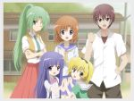 1boy 4girls :d blonde_hair blue_eyes bowtie brown_hair building crossed_arms dress dress_shirt fang furude_rika grass green_eyes green_hair grin hairband highres higurashi_no_naku_koro_ni holding_hands houjou_satoko long_hair looking_at_viewer maebara_keiichi migihidari multiple_girls neckerchief necktie open_mouth orange_hair outdoors ponytail ryuuguu_rena school school_uniform serafuku shirt short_hair short_sleeves skirt smile sonozaki_mion standing suspenders vest violet_eyes wink