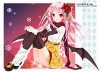 argyle_legwear arm_warmers bat_wings belt black_legwear flower grin hair_flower hair_ornament high_heels horns juna leg_warmers long_hair open_mouth original pink_hair plaid plaid_skirt pleated_skirt red_eyes scarf shoes sitting skirt smile snowflakes thigh-highs thighhighs watermark wings