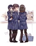 3girls bag bakery black_hair black_legwear brown_hair doughnut hair_over_shoulder loafers multiple_girls open_mouth original pantyhose pleated_skirt ponytail ringo78 rough scarf school_bag school_uniform serafuku shoes shop short_hair skirt smile standing tongs