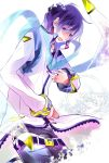 1boy blue_eyes blue_hair coat kaito kaito_(vocaloid3) male open_mouth scarf smile solo vocaloid