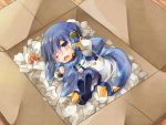 1boy ? blue_eyes blue_hair blush box cardboard_box in_container kaito kaito_(vocaloid3) looking_at_viewer scarf shinyae sleepy solo vocaloid wince