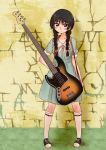 1girl akiyama_mio bass_guitar black_eyes black_hair blush braid hime_cut instrument k-on! k-on!_movie light_smile long_hair looking_at_viewer simple_background singing! singing!! solo twin_braids tyranu very_long_hair wall white_legwear