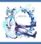 1boy blue_eyes blue_hair boots coat kaito kaito_(vocaloid3) male scarf solo star vocaloid