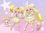 2girls baby blonde_hair blue_eyes brooch brown_eyes candy_(smile_precure!) choker color_connection creature crossover double_bun dual_persona gloves hat head_wings ine jewelry long_hair magical_girl makihatayama_hana multiple_girls ojamajo_doremi ootani_ikue precure royal_candy seiyuu_connection shoes short_hair skirt smile_precure! tiara twintails