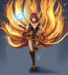 1girl ahri animal_ears armor armored_dress braid collar crossed_legs_(standing) energy_ball fingerless_gloves firefox fox_ears fox_tail gloves greaves hannah_santos highres league_of_legends long_hair multiple_tails nail_polish orange_eyes red_hair redhead single_braid solo tail whiskers