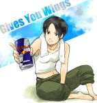 1girl ace_combat ace_combat_5 barefoot black_eyes black_hair can drink energy_drink inaba_tomoe kei_nagase navel product_placement red_bull short_hair solo tank_top
