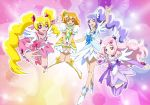 4girls aono_miki blonde_hair boots bow brown_eyes brown_hair choker cosplay cure_berry cure_diamond cure_diamond_(cosplay) cure_heart cure_heart_(cosplay) cure_passion cure_peach cure_pine cure_rosetta cure_rosetta_(cosplay) cure_sword cure_sword_(cosplay) dokidoki!_precure earrings fresh_precure! hair_ornament heart higashi_setsuna jewelry long_hair magical_girl momozono_love moritakusan multiple_girls pink_eyes pink_hair ponytail precure purple_eyes purple_hair short_hair smile twintails violet_eyes yamabuki_inori