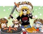 4girls animal_ears azuki_osamitsu barbecue bbq black_hair blonde_hair blush bread brown_hair bunny_ears casual cat_ears chen child cirno cooking cowboy_hat double_thumbs_up earrings food hat ice ice_wings inaba_tewi jewelry kirisame_marisa long_hair machete mini-hakkero multiple_girls rabbit_ears sausage short_hair snot sunglasses t-shirt thumbs_up touhou wings