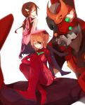 2girls blue_eyes brown_hair eva_02 evangelion:_3.0_you_can_(not)_redo eyepatch glasses green_eyes heterochromia long_hair low_twintails makinami_mari_illustrious multiple_girls neon_genesis_evangelion plugsuit rebuild_of_evangelion red-framed_glasses shikinami_asuka_langley shirofox soryu_asuka_langley souryuu_asuka_langley