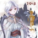 1boy 1girl 2013 armor blush castle crossdressing dark_souls dark_sun_gwyndolin dress flower full_armor gloves helmet jewelry lady_of_the_darkling male no_headwear robe short_hair silver_hair slit_pupils smile snake solo trap yellow_eyes