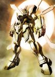 freedomz3 g_gundam glowing glowing_eyes god_gundam gundam highres mecha no_humans solo super_robot