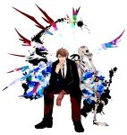 1boy abstract brown_hair flower formal hand_on_chin masaoka_tomomi mechanical_arm necktie psychedelic psycho-pass rose short_hair simple_background skeleton solo splotch suit torimura