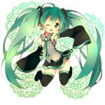 1girl ;d boots detached_sleeves green_eyes green_hair hatsune_miku long_hair necktie open_mouth pink_usagi skirt sleeves_past_wrists smile solo thigh-highs thigh_boots thighhighs twintails very_long_hair vocaloid wink