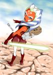 1girl ahsoka_tano alien backpack bag belt blue_eyes clone_wars cloud clouds energy_sword facial_mark fingerless_gloves from_behind gloves jedi jedi_knight kaise_sousuke knight lightsaber lips reverse_grip rotta_the_hutt shorts sky smirk solo star_wars sword tattoo weapon yellow_eyes
