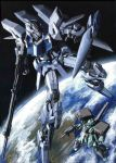 armor beam_rifle cannon delta_plus earth gun gundam gundam_unicorn highres mecha no_humans rocket_launcher shield space stark_jegan traditional_media weapon zero_gravity