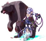 animal_ears armor bear blood blood_in_mouth bloody_teeth blue_eyes claws fang jump_rope kyousaku mygrimoire open_mouth original purson_(mygrimoire) sharp_teeth smile snake tail