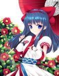 1girl blue_eyes blue_hair blush bow fingerless_gloves flower fred0092 gloves hair_bow highres japanese_clothes long_hair looking_at_viewer nakoruru oriental_umbrella samurai_spirits smile solo umbrella