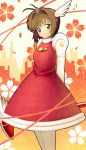 1girl 4b-enpitsu brown_hair card_captor_sakura cardcaptor_sakura dress fuuin_no_tsue green_eyes highres kinomoto_sakura magical_girl pantyhose short_hair solo wand white_legwear wings