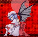 1girl backless bat_wings boots border checkered checkered_background dress frown hat hat_ribbon highres knees_up lace lavender_hair leg_hug mob_cap pointy_ears puffy_sleeves red_background red_eyes remilia_scarlet ribbon short_hair short_sleeves sitting solo touhou u-zone wings