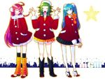 ahoge aqua_eyes aqua_hair bad_id blue_hair bonnet boots christmas coat earmuffs green_hair gumi hat hatsune_miku high_heels leg_warmers long_hair miki_(vocaloid) multiple_girls pink_eyes pink_hair red_hair santa_costume santa_hat sf-a2_miki shoes short_hair skirt smile tama_(pixiv88758) tama_(speedgrapher) thigh-highs thighhighs twintails vocaloid yoshizawa_tamae zettai_ryouiki