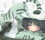 animal_costume bad_id black_hair blue_eyes costume hat murasa_minamitsu nejime pajamas sailor sailor_hat short_hair solo tail tiger_costume tiger_print touhou