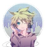 androgynous blonde_hair green_eyes headphones hekicha kagamine_len male musical_note open_mouth solo vocaloid wink