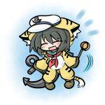 black_hair chibi costume hat hishaku ladle murasa_minamitsu sailor_collar sailor_hat solo tiger_costume tiger_print touhou yanagi_(artist)