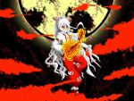 bow fire fujiwara_no_mokou full_moon hair_bow long_hair moon pants red_eyes suspenders touhou white_hair
