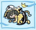 animal_costume animal_ears black_hair chibi costume green_eyes hat hishaku ladle murasa_minamitsu sailor_hat short_hair solo tail tiger tiger_costume tiger_print touhou yanagi_(artist)