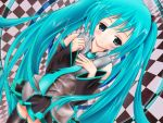 aqua_eyes aqua_hair blush detached_sleeves hatsune_miku long_hair necktie nironiro skirt solo thigh-highs thighhighs twintails very_long_hair vocaloid zettai_ryouiki