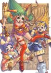 falling feena grandia_i green_hair hair_ornament jewelry justin kneehighs legs long_hair necklace open_mouth poko shoes socks sue torn_clothes weapon