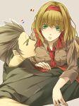 belgium_(hetalia) blonde_hair green_eyes netherlands_(hetalia) ribbon scar short_hair siblings sleeves_rolled_up teita