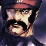 epic facial_hair hat humio male manly mario mustache nintendo one-eyed plumber realistic sideburns sketch solo super_mario_bros.