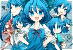 ⑨ >:) ? achi_cirno alternate_color alternate_element alternate_hair_color alternate_hair_length alternate_hairstyle amaya_enaka blue_dress blue_eyes blue_hair chibi cirno cosplay detached_sleeves dress fang fiery_wings finger_to_mouth hakurei_reimu hakurei_reimu_(cosplay) hands_on_hips heart long_hair multiple_persona neck_ribbon o3o ofuda open_mouth pointing popsicle ribbon skirt smile tears tentani touhou wavy_mouth wings