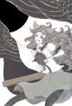 bow hair_bow laughing long_hair open_mouth pantyhose reiuji_utsuho ryokosan solo touhou wings