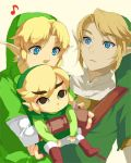 blonde_hair blue_eyes earrings gloves hat hug jewelry link lowres male multiple_persona muse_(rainforest) musical_note nintendo pointy_ears super_smash_bros. the_legend_of_zelda toon_link triple_persona