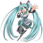 aqua_eyes aqua_hair detached_sleeves foreshortening hatsune_miku headset legs long_hair maruyama necktie skirt solo thigh-highs thighhighs twintails very_long_hair vocaloid zettai_ryouiki