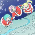 3girls blonde_hair blue_hair chibi christmas flying green_eyes harunno_sakura haruno_sakura hood hyuuga_hinata lowres multiple_girls naruto open_mouth pink_hair ponytail river short_hair sigekitti smile snowflakes tree yamanaka_ino