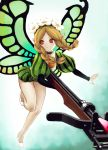 1girl blonde_hair bow_(weapon) braid butterfly_wings crossbow dress fairy flower hair_flower hair_ornament hiro1984 long_hair mercedes odin_sphere pointy_ears puff_and_slash_sleeves solo twin_braids weapon wings