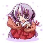chibi detached_sleeves hanyuu higurashi_no_naku_koro_ni horns japanese_clothes long_hair miko open_mouth purple_eyes purple_hair smile solo take_tonbo violet_eyes