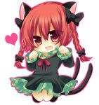 1girl animal_ears blush bow braid cat_ears cat_tail chibi dress fang green_dress hair_bow heart jumping kaenbyou_rin long_sleeves looking_at_viewer multiple_tails open_mouth red_dress red_eyes shikito simple_background smile solo tail touhou twin_braids white_background