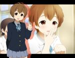 2girls brown_eyes brown_hair extra hatasuke k-on! kikuchi_tae manabe_nodoka multiple_girls short_hair waving